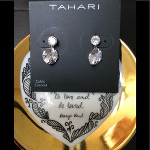 Tahari Cubic Zirconia Diamond Drop Earrings NWT